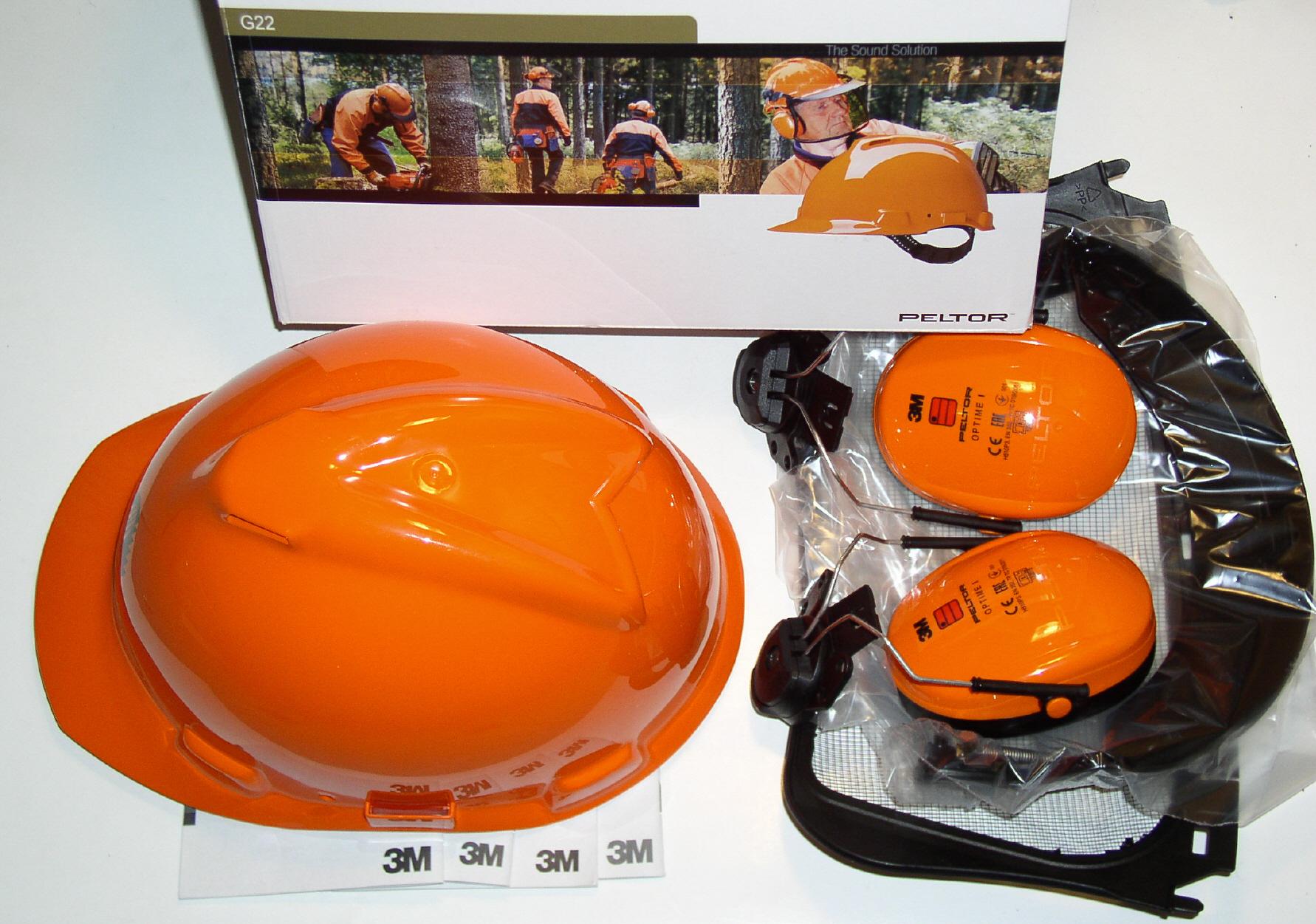 Kombination mit Netz-Visier orange Schutzhelm 3M PELTOR Forsthelm